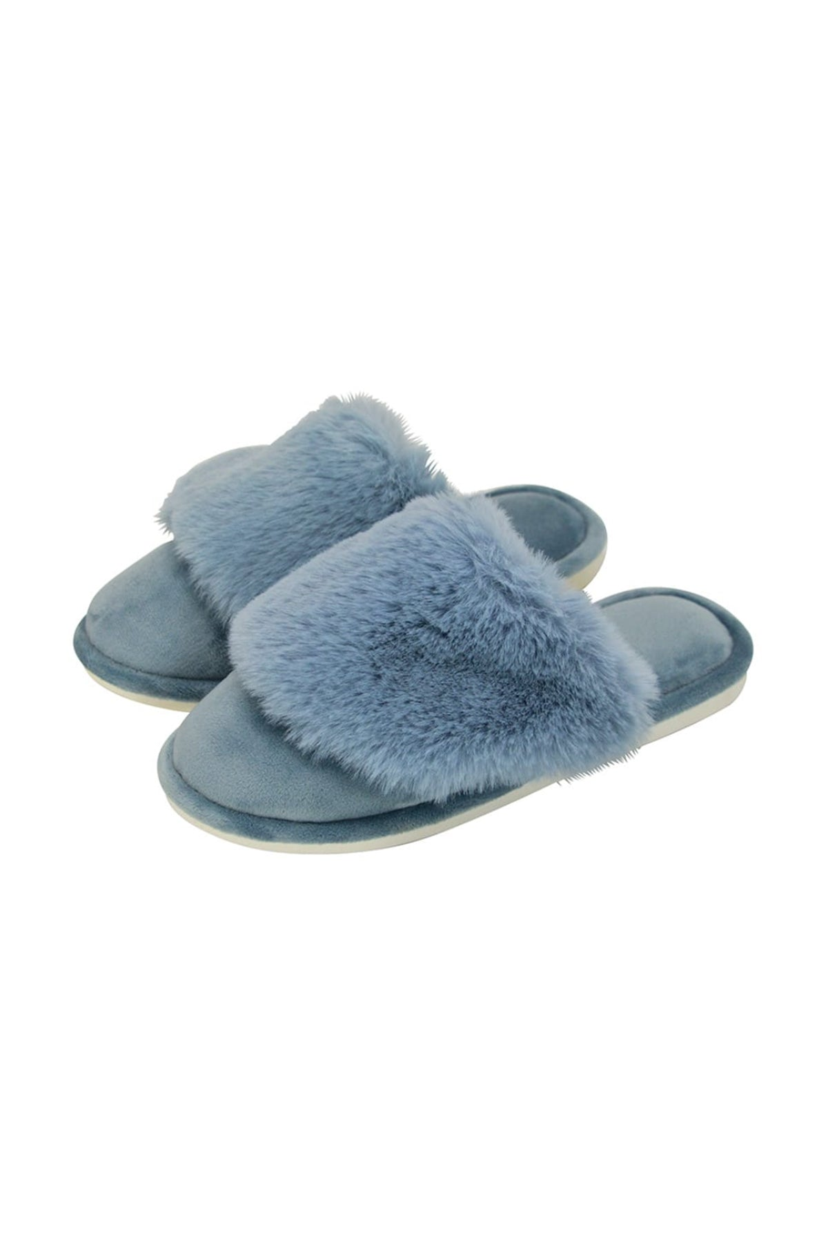 cosy luxe slippers dusty blue