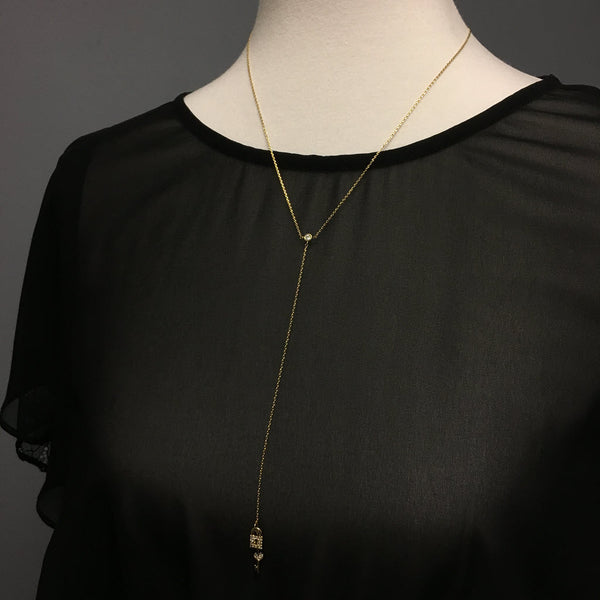 Heart Lock & Key Slim Long Necklace
