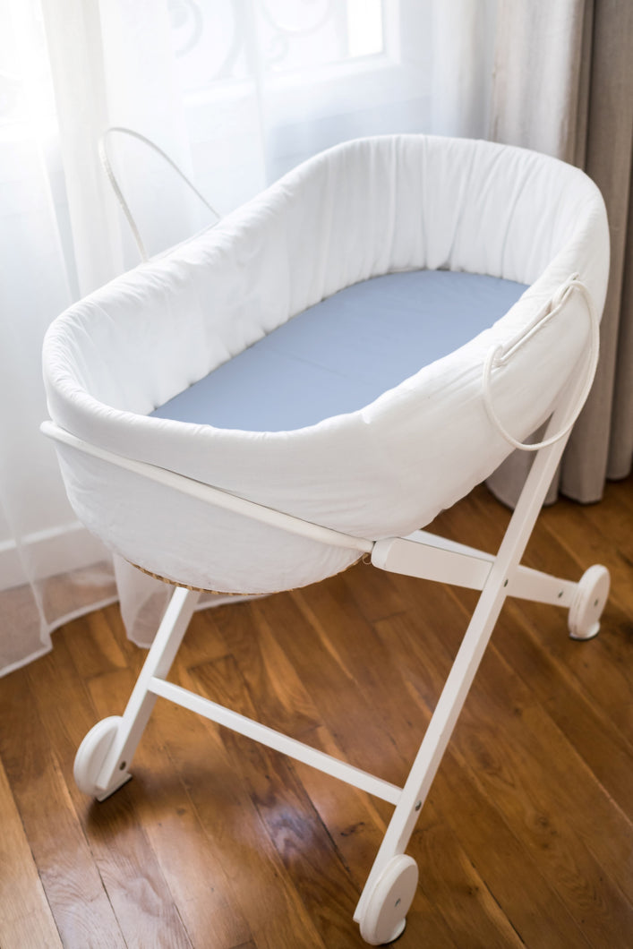 Sky Blue 100% Pure Mulberry Silk Fitted Bassinet Sheet