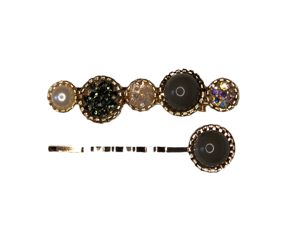 Mix & Match Pearl Hair Clip Pack - Charcoal
