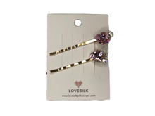 Blush Pink Love Heart Diamante Hair Clip - 2 Pack