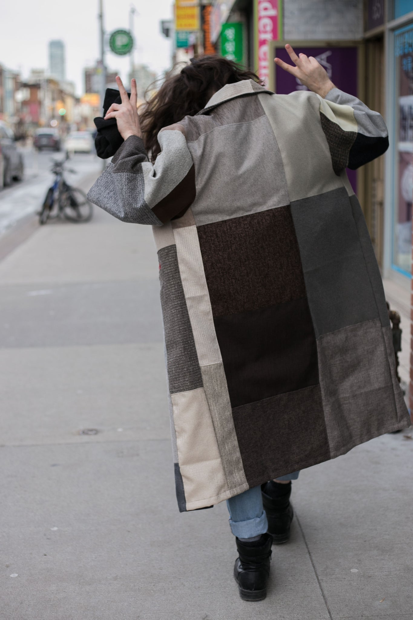 Patchwork oversized trenchcoat