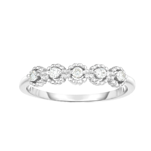 Diamond Round Shape Stackable White Gold Ring/Band - Sizable
