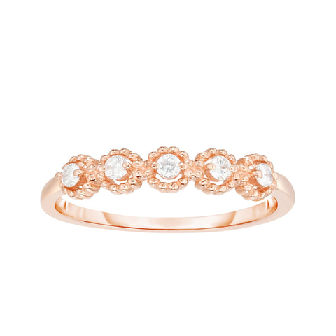Diamond Round Shape Stackable Rose Gold Ring/Band - Sizable