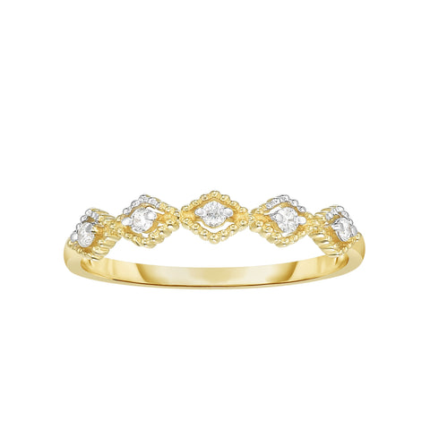 14K Yellow Gold Diamond Kite Shape Stackable Ring/Band