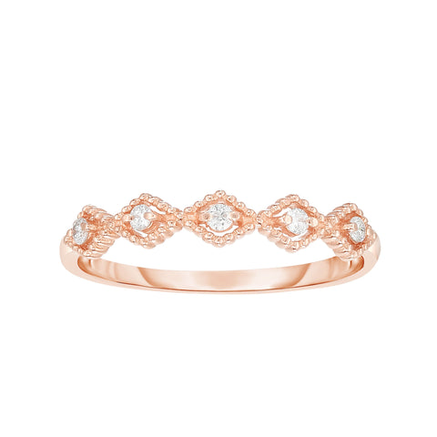 14K Rose Gold Diamond Kite Shape Stackable Ring/Band