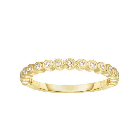 14K Gold Diamond Bezel Set Stackable Ring/Band - Sizable