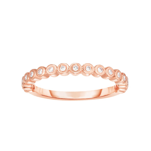 14K Rose Gold Diamond Bezel Set Stackable Ring/Band - Sizable