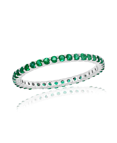White Gold Emerald Stackable Band Ring