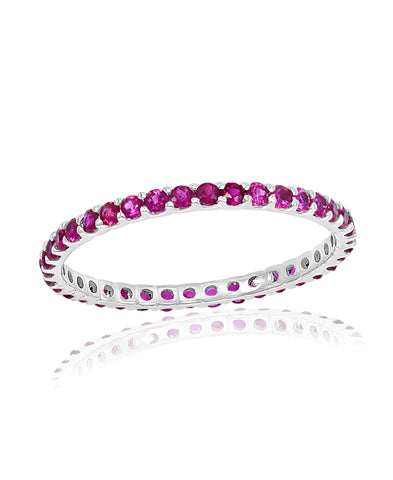 White Gold Ruby Stackable Band Ring