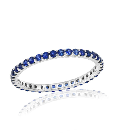 White Gold Sapphire Stackable Band Ring
