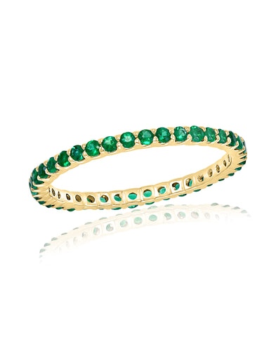 Gold Emerald Stackable Band Ring