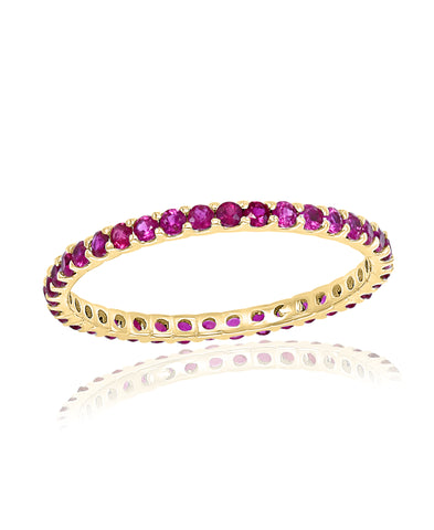 Gold Ruby Stackable Band Ring