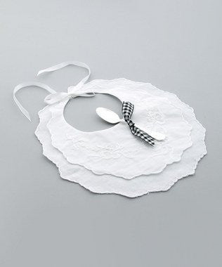Flower Bow Bib & Silver Spoon Gift Set