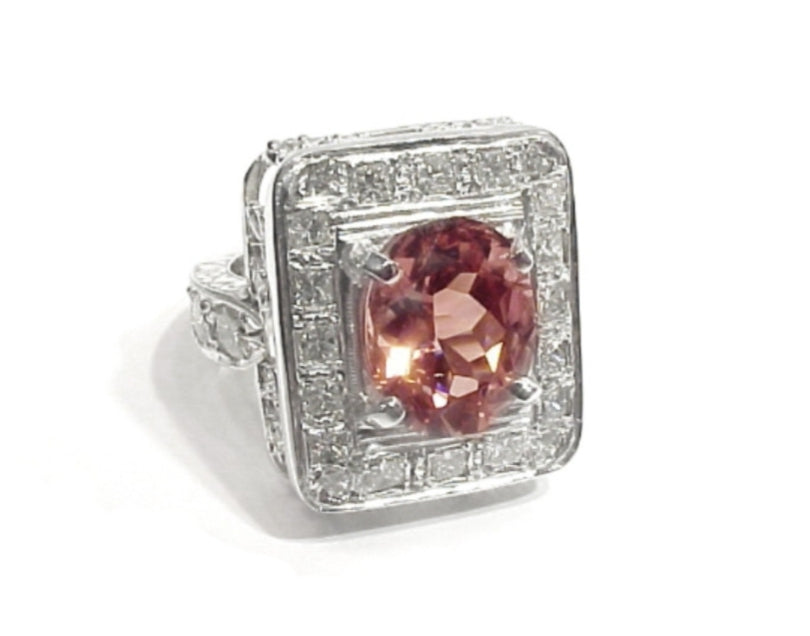 White Gold and Dimond Pink Tourmaline ring