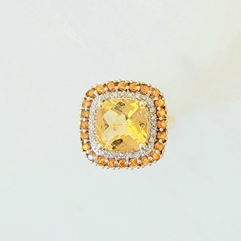 Citrine and Topaz Double Halo Yellow Gold Ring