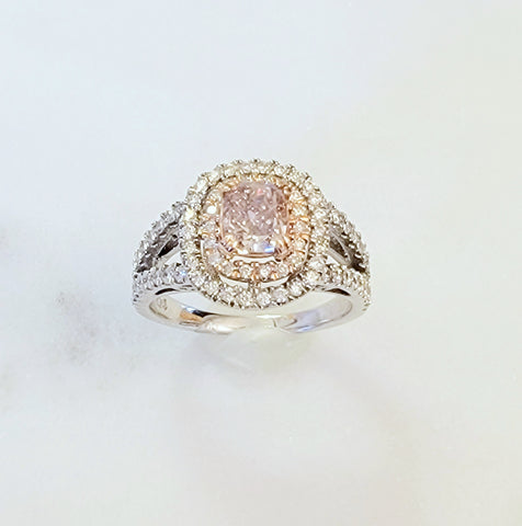 White Gold Pink Diamond Ring With Rose Gold Accent