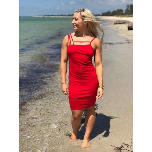Style State Geometric Strap Bodycon Red