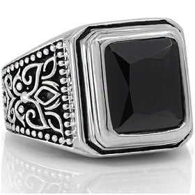 f3122f6b2 black onyx ring flower vintage silver high quality vy jewelry beautiful  stone men women rings all