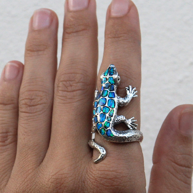 adjustable ring jewelry reptile bling cute sterling rings toe lizard silver midi oblacoder