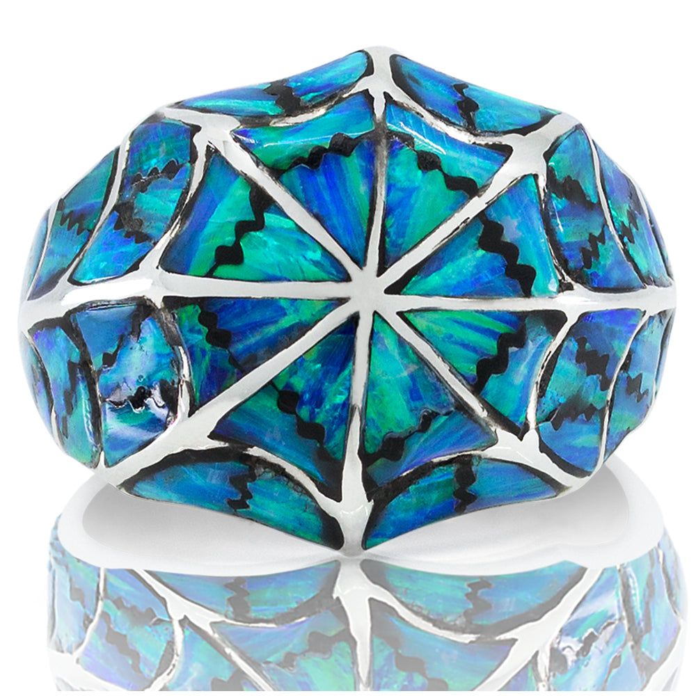 7f2a54ea6 blue opal men women silver ring set genuine stone small big size handmade  craft vy jewelry ...