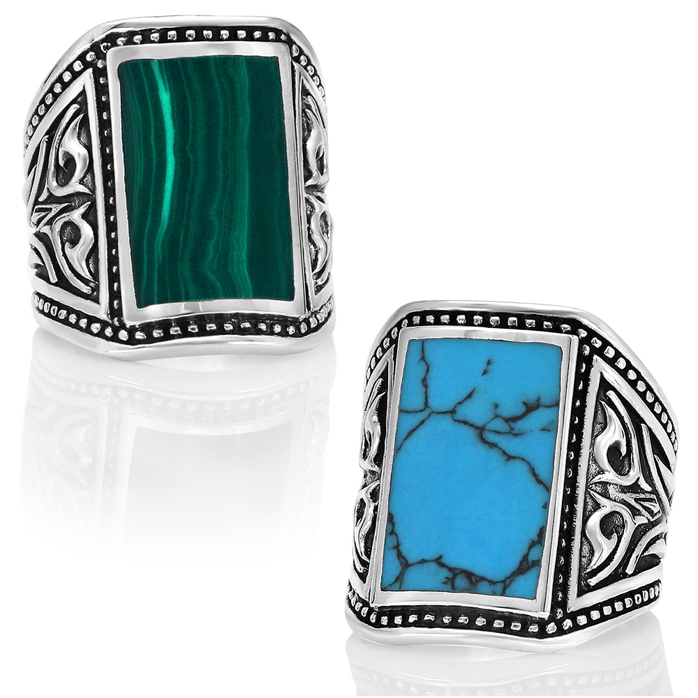 Sterling Silver Sz 5 Thru 10 Spider Web Turquoise Four Stone Ring