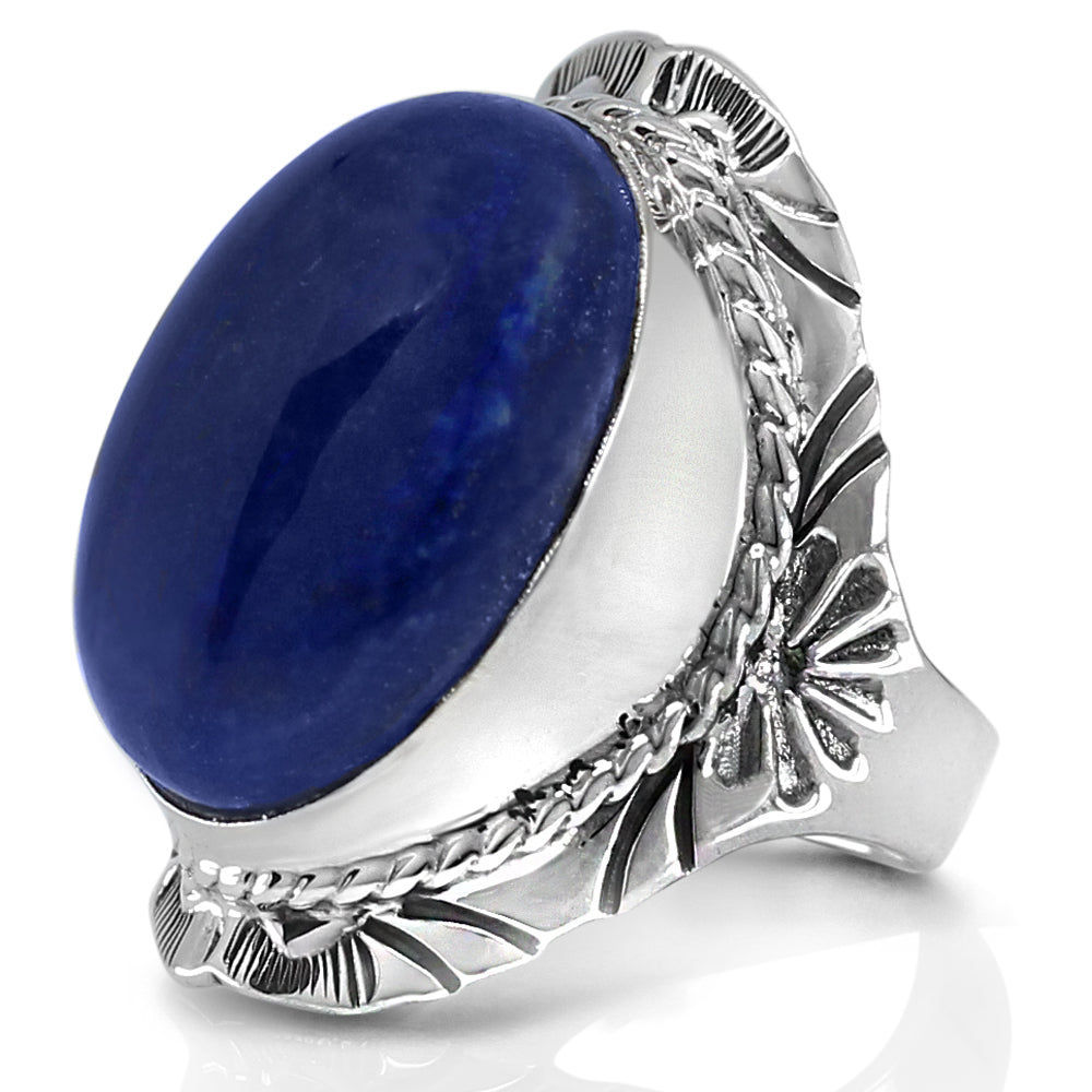 Jewellery 925 Sterling Silver Excellent Genuine Blue Ring Lapis Lazuli Blue Gems Silver Ring