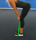 straight leg deadlift with mini loop band, straight leg deadlift with resistance band