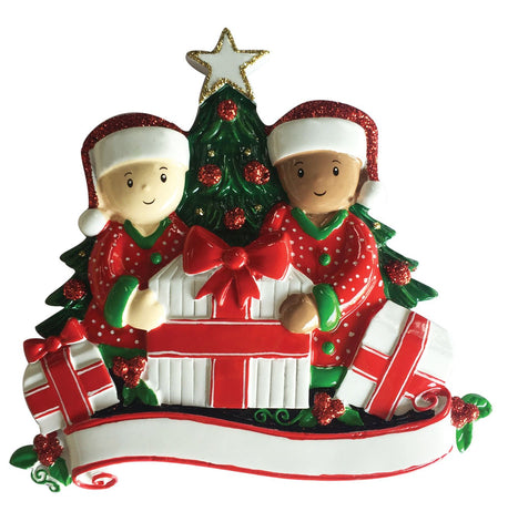 MR1523-2 - Interracial Family of 2 Opening Presents Personalised Christmas Decoration