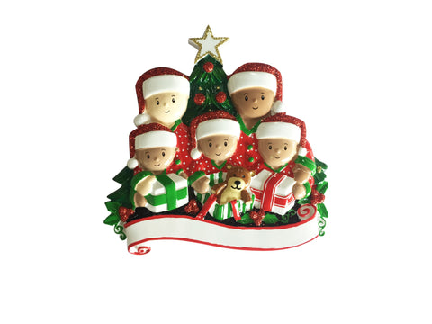 MR1523-5 - Interracial Family of 5 Opening Presents Personalised Christmas Decoration