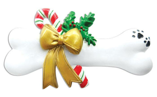 OR022 - Dog Bone with Holly Personalised Christmas Decoration