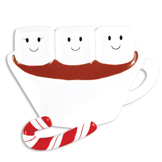 OR1213-3 - Hot Chocolate Family With 1 Kid Personalised Christmas Decoration