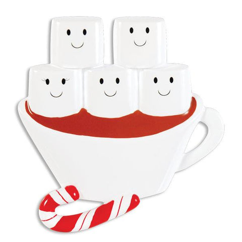 OR1213-5 - Hot Chocolate Family With 3 Kids Personalised Christmas Decoration