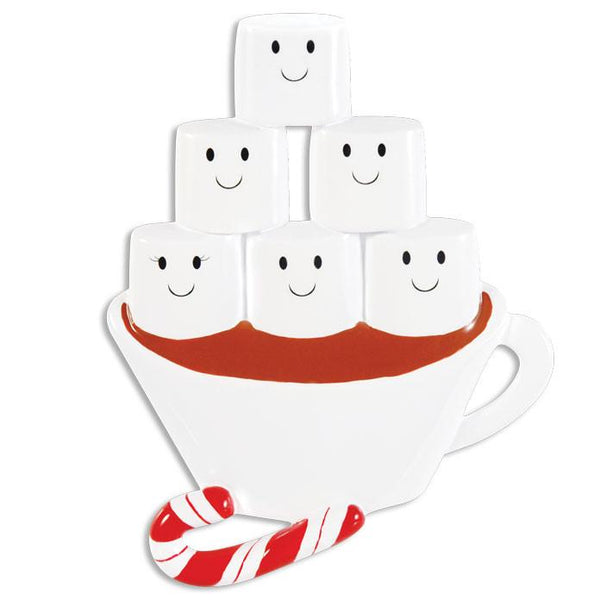 OR1213-6 - Hot Chocolate Family With 4 Kids Personalised Christmas Decoration