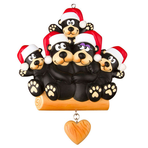 OR1215-5 - Black Bear Family of 5 Personalised Christmas Decoration