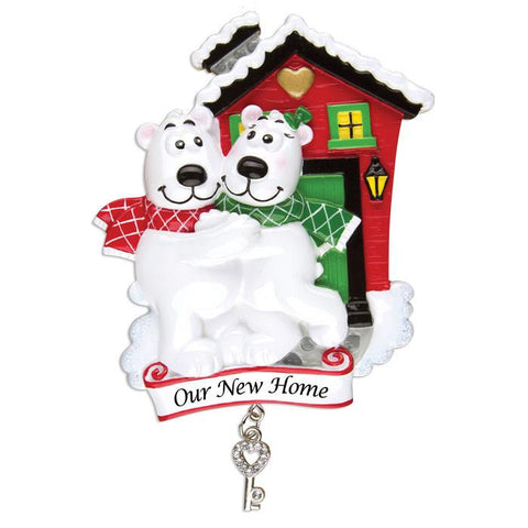 OR1259 - Our New Home/Polar Bear Couple Personalised Christmas Decoration