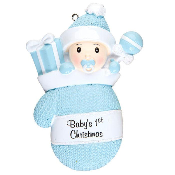OR1331-B - Baby Boy In Mitten Personalised Christmas Decoration