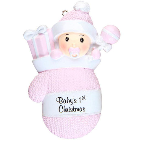 OR1331-P - Baby Girl In Mitten Personalised Christmas Decoration