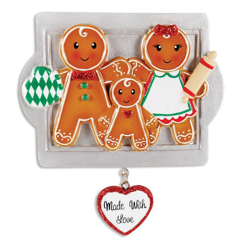 OR1345-3 - Made W/Love Family Of 3 Personalised Christmas Decoration