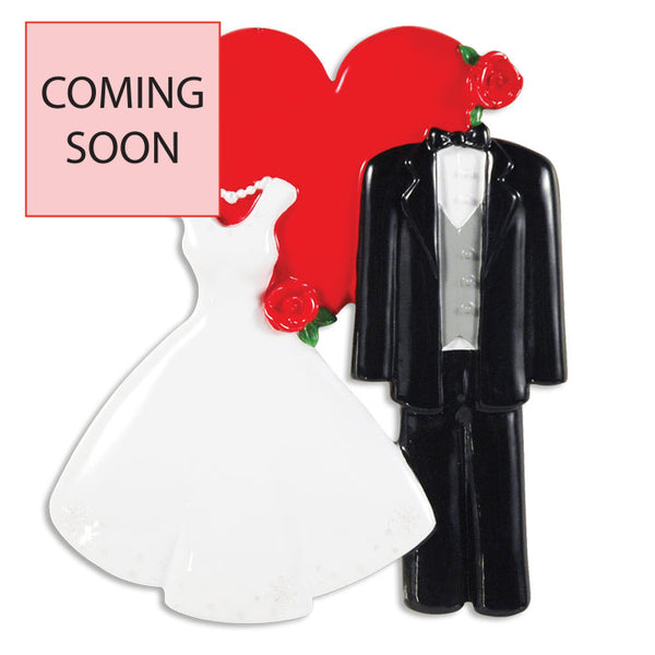 OR1354 - Wedding Dress/Tux W/Heart Personalised Christmas Decoration