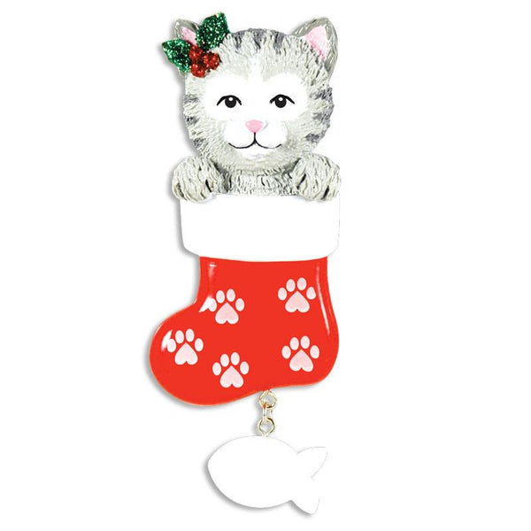 OR1406 - Cat In Stocking Personalised Christmas Decoration