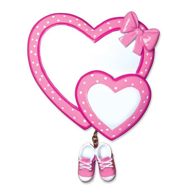 OR1443-P - Baby Heart/Booties (Pink) Personalised Christmas Decoration