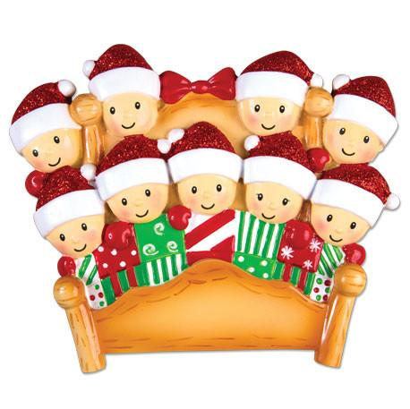 OR1469-9 - Bed Family of 9 Personalised Christmas Decoration