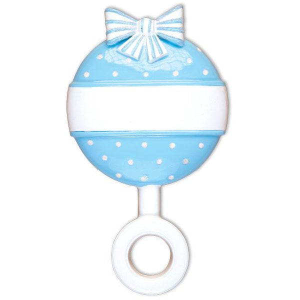 OR1494-B - Lt, Blue Baby Rattle Personalised Christmas Decoration