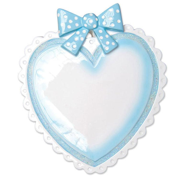OR1495-B - Lt. Blue Baby Heart Personalised Christmas Decoration