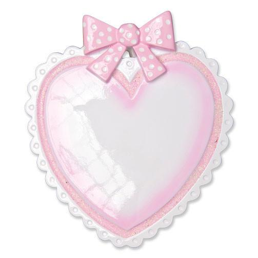 OR1495-P - Pink Baby Heart Personalised Christmas Decoration