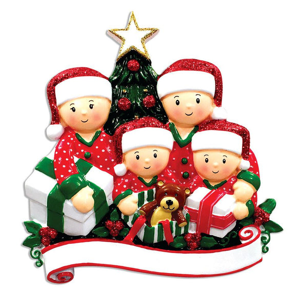 OR1523-4 - Opening Presents (family of 4) Christmas Ornament