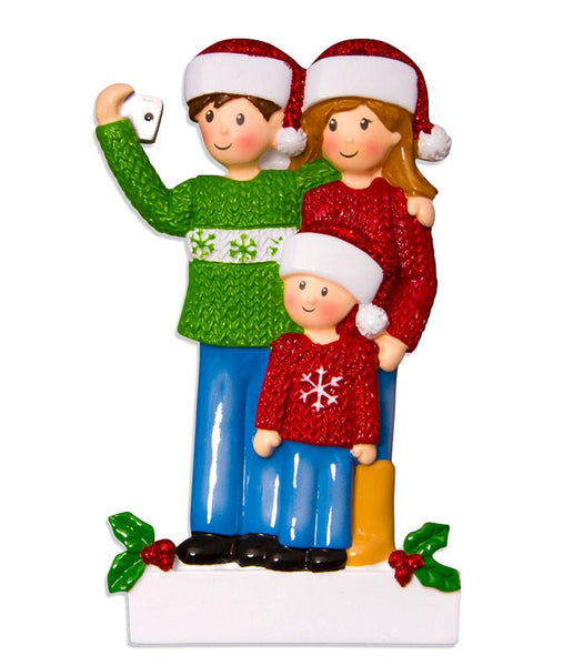 OR1525-3 - Selfie Family (with 1 child) Christmas Decoration