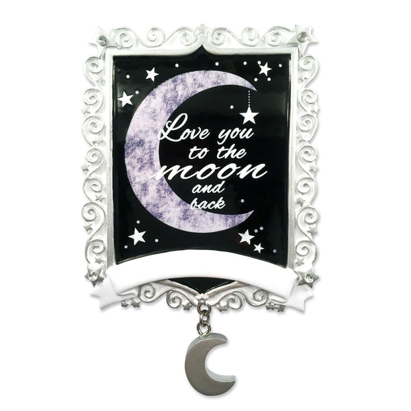 "OR1530-MOON - Chalkboard ""To The Moon And Back"" Christmas Decoration"