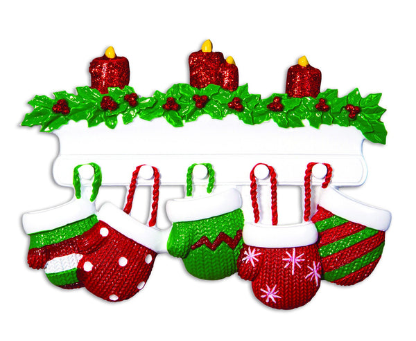 OR1570-5 - Red & Green Mitten Family of 5 Personalised Christmas Decoration